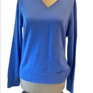 Lands' End Light Blue 100% Cashmere V-neck Sweater